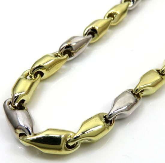 10k Two Tone Gold Alternating Bullet Chain 30 Inch