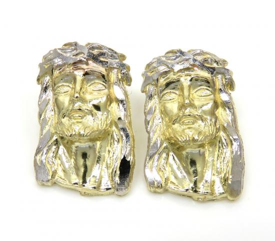 10k Two Tone Gold Medium Size Classic Jesus Face Earrings