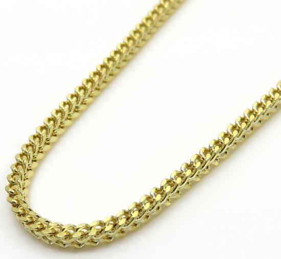 10k Yellow Gold Hollow Skinny Franco Link Chain 22-28 Inch 1.5mm
