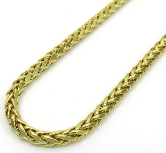 10k Yellow Gold Skinny Hollow Wheat Chain 22-24 Inch 2.50mm
