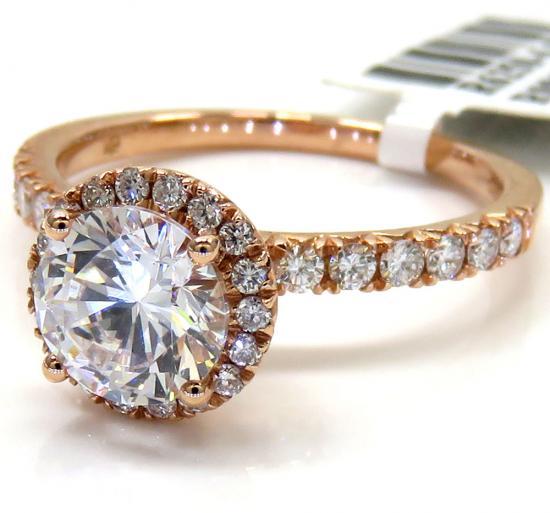 Ladies 14k Rose Gold Round Diamond Halo Engagement Ring 0.43ct