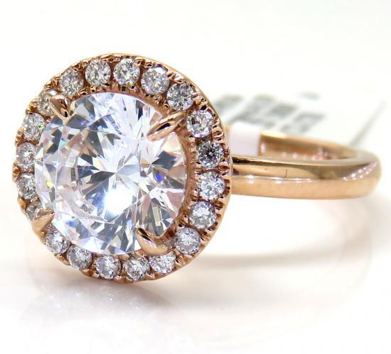 14k Rose Gold Round Diamond Halo Semi Mount Ring 0.19ct
