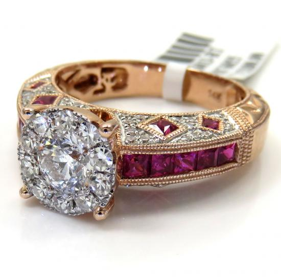 14k Rose Gold Ruby And Diamond Engagement Ring 1.87ct