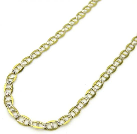 10k Yellow Gold Two Tone Diamond Cut Mariner Chain 24 Inch 2mm