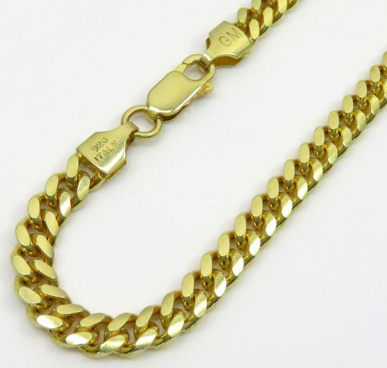 925 Yellow Sterling Silver Miami Link Bracelet 8.75 Inch 5mm
