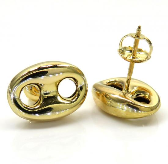 12mm 10k Yellow Gold Small Puffed Gucci Hollow Earrings