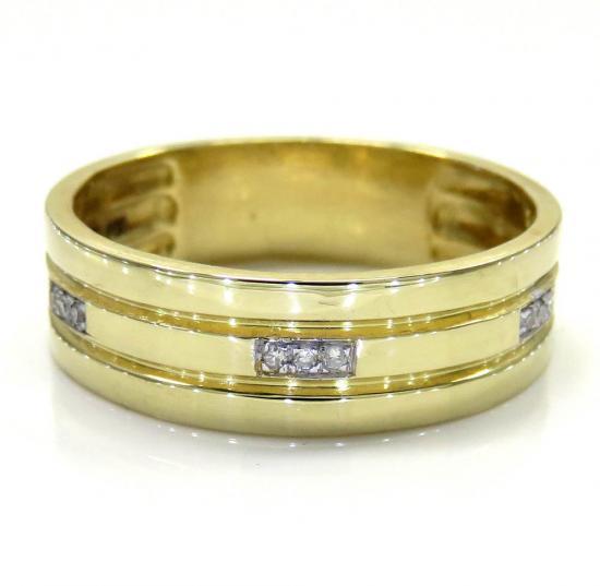 14k Yellow Gold Round Diamond Wedding Band 0.04ct