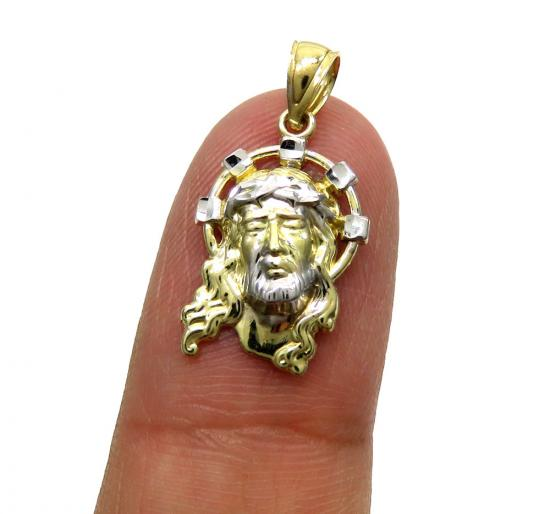 10k Yellow Gold Two Tone Mini Diamond Cut Halo Jesus Pendant