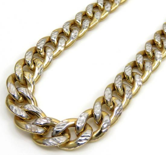 10k Yellow Gold Reversible Two Tone Miami Chain 24 Inch 6.80mm