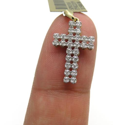10k Yellow Gold 2 Row Diamond Micro Cross 0.25ct
