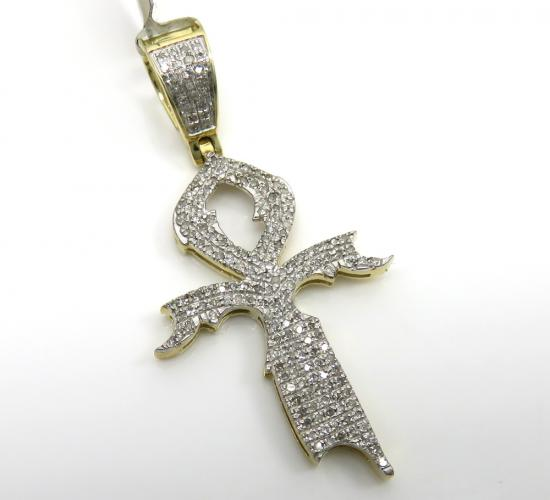 10k Yellow Gold Diamond Dagger Ankh Cross 0.44ct