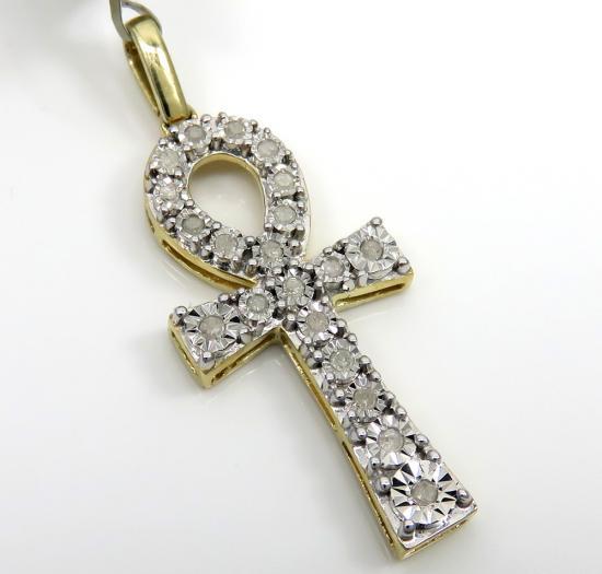 10k Yellow Gold Diamond Mini Ankh Cross 0.17ct
