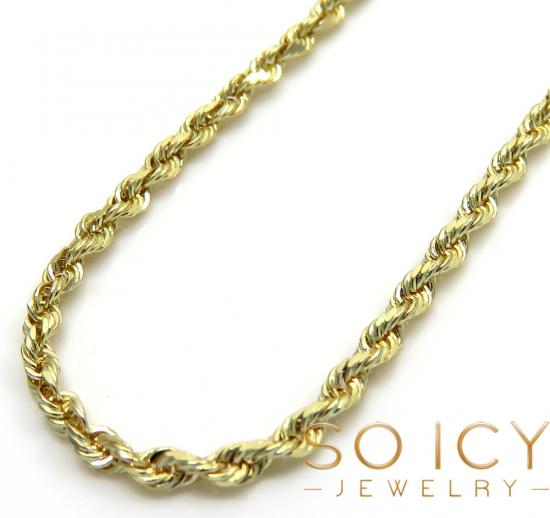 14k Yellow Gold Skinny Diamond Cut Rope Chain 16-24 Inch 1.30mm