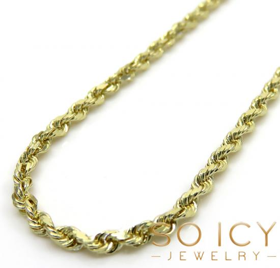 14k Yellow Gold Skinny Diamond Cut Rope Chain 16-30 Inch 1.50mm
