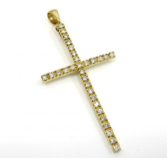 14k Gold 30 Diamond Prong Cross 0.30ct