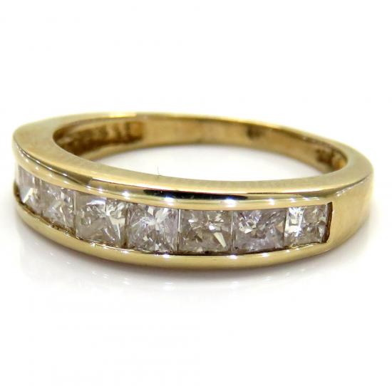 10k Yellow Gold Princess Diamond Wedding Band Ring 1.00ct