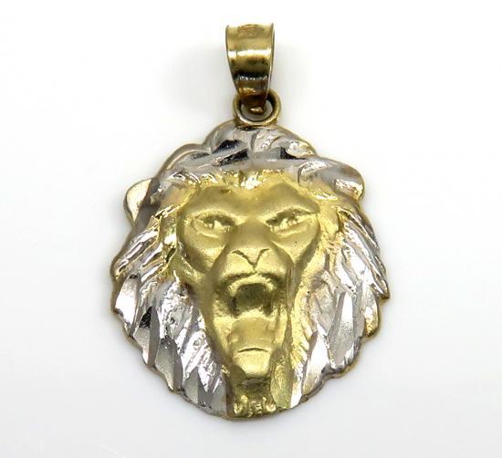 10k Two Tone Gold Diamond Cut Mini Lion Head Pendant