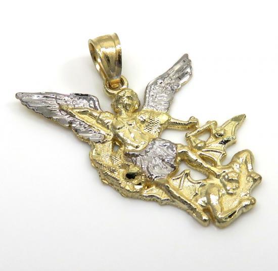 10k Two Tone Gold Mini Angel V Demon Saint Michaels Pendant
