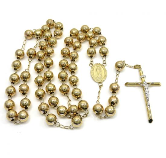 10k Yellow Gold Smooth Large Bead Rosary Chain 28 Inch 8mm