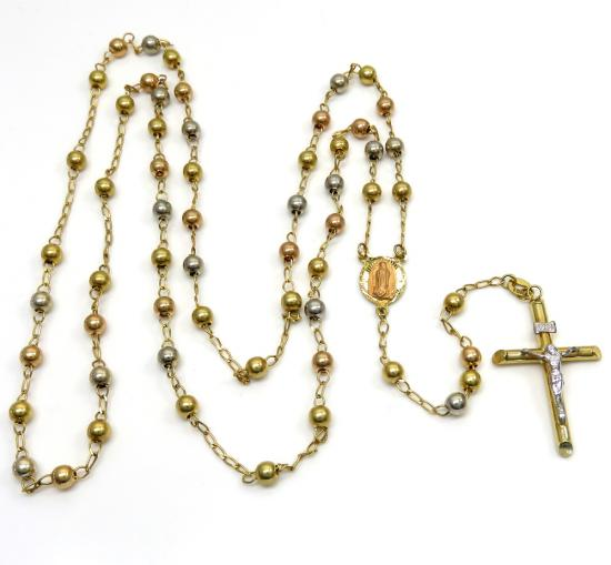 10k Yellow Gold Tri Tone Smooth Bead Rosary Chain 28 Inch 4mm