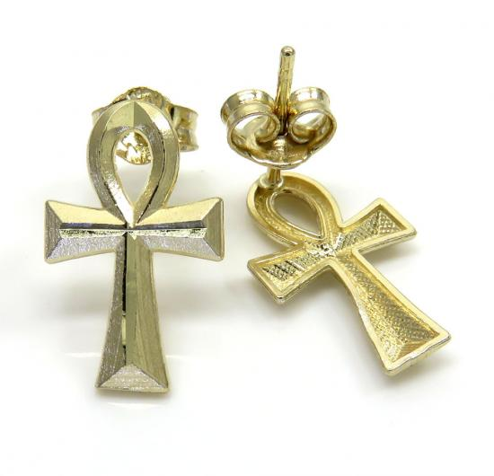 10k Yellow Gold Mini Ankh Cross Earrings