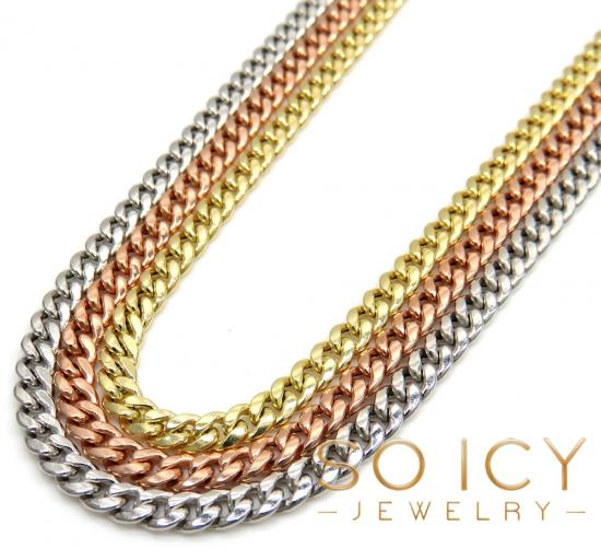 10k Yellow White Or Rose Gold Skinny Hollow Puffed Miami Chain 22-24' 3mm