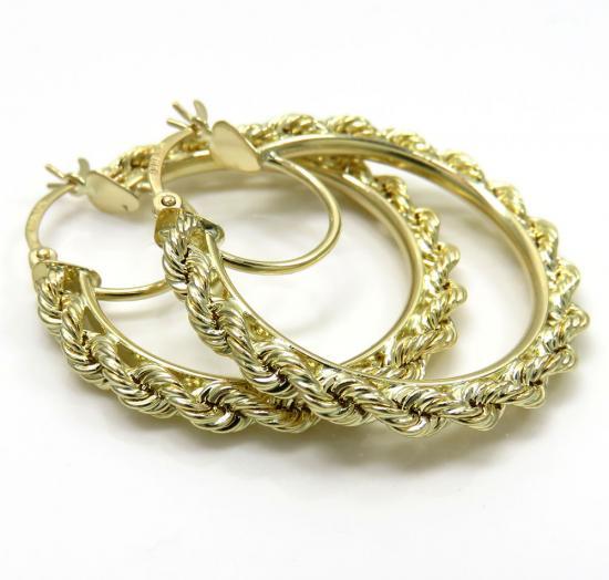 Ladies 10k Yellow Gold 3mm Rope Hoops