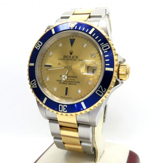 Rolex Submariner Stainless Steel & 18k Gold Champagne Serti Diamond Dial 40mm Watch 16613