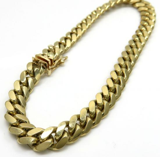 10k Yellow Gold Solid Miami Bracelet 8.25 Inch 6.80mm