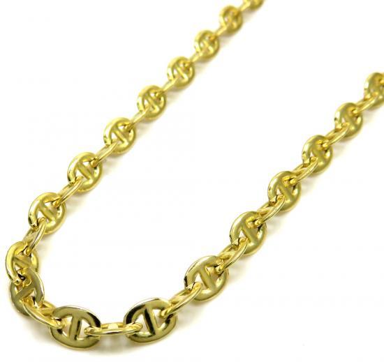 10k Yellow Gold Solid Interlocking Puffed Mariner Chain 24 Inch 4mm