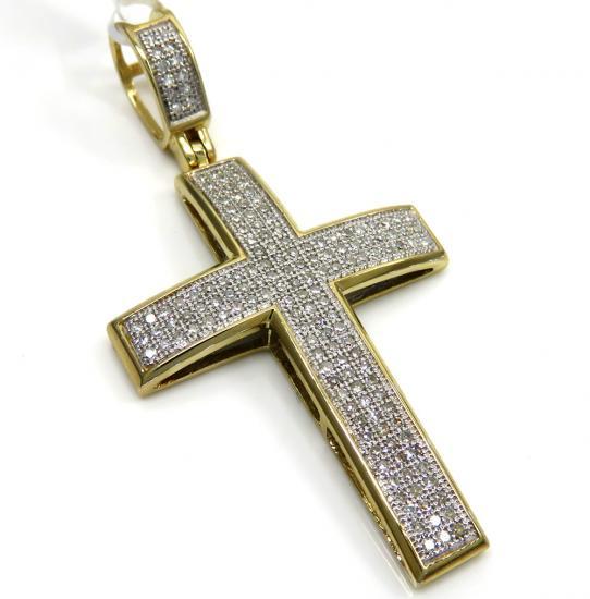 14k Yellow Gold 3 Row Diamond Cross Pendant 0.50ct