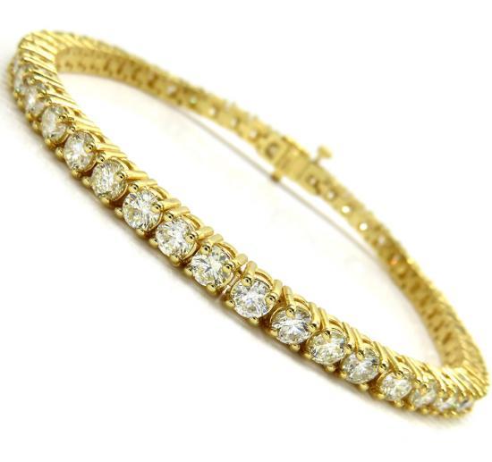 10k Yellow Gold 20 Pointer Diamond Tennis Bracelet 8 Inch 9.82ct