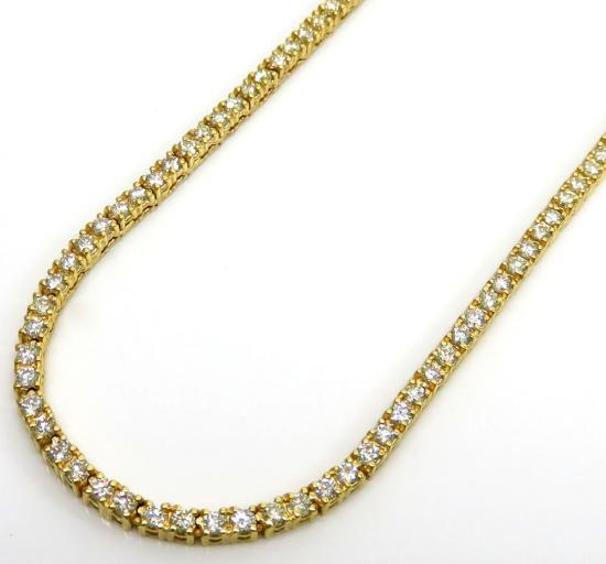 14k Yellow Gold Round 3 Pointer Diamond Skinny Tennis Chain 3mm 6.50ct 20-30'