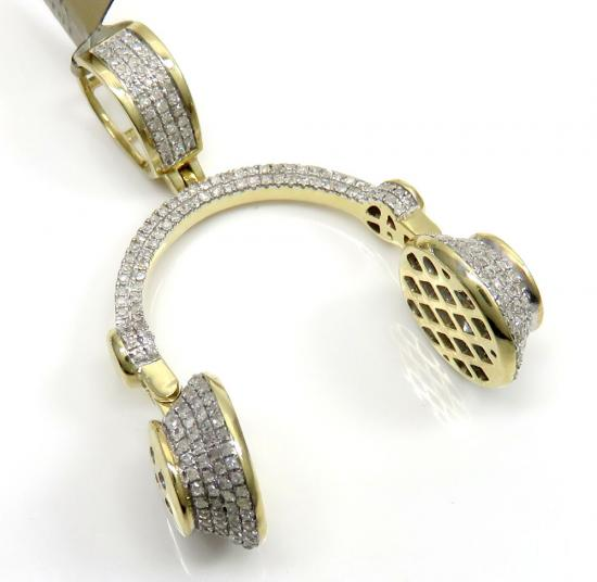 10k Yellow Gold Diamond Headphone Pendant 0.75ct