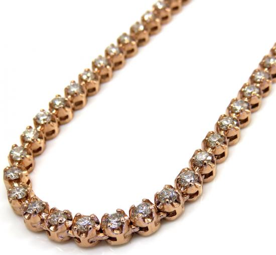 14k Rose Gold Round 6+ Pointer Diamond Tennis Chain 20 Inches 4mm 10.00ct Approx