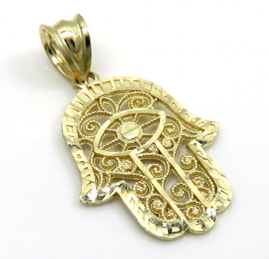 10k Yellow Gold Mini Fancy Hamsa Pendant