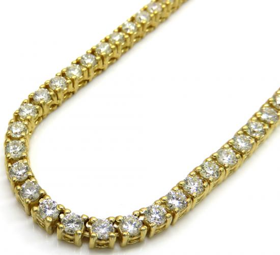 14k Yellow Gold Round 10 Pointer Diamond Tennis Chain 22' 3.5mm 17.00ct