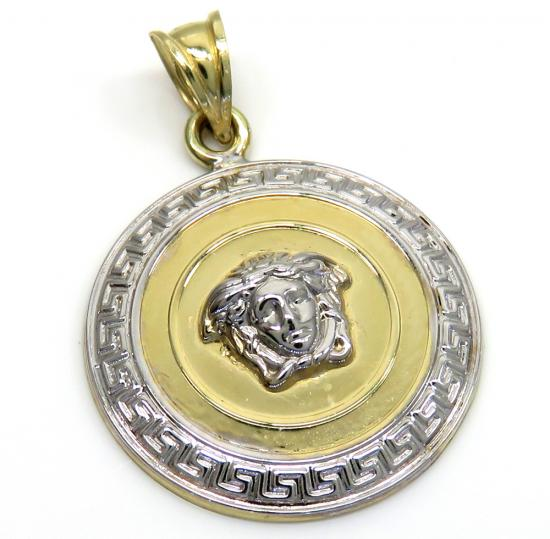 14k Two Tone Medusa Head Pendant