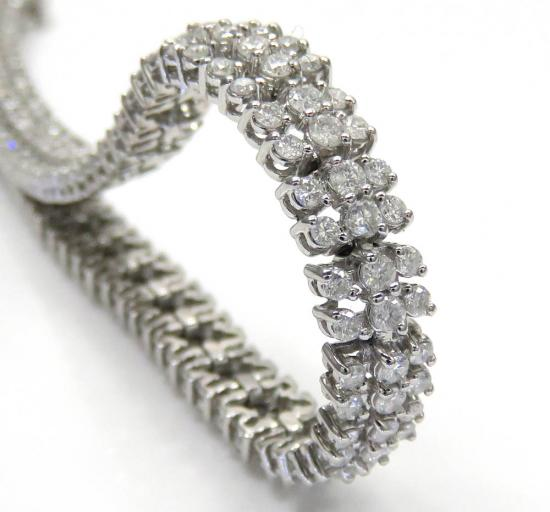 14k White Gold 3 Row Diamond Tennis Bracelet 7.50 Inches 4.00ct