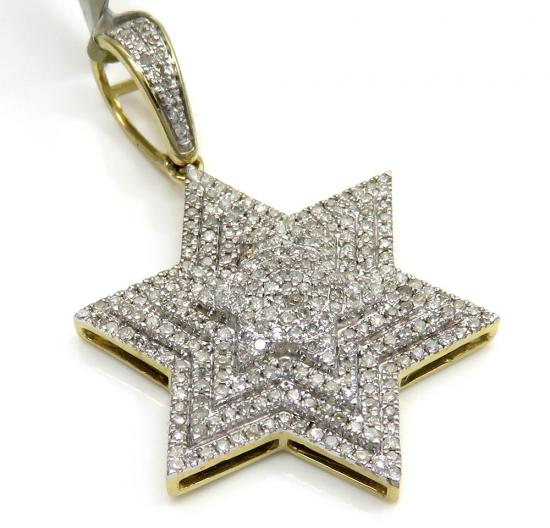 10k Yellow Gold Tier Diamond Star Of David Pendant 0.65ct