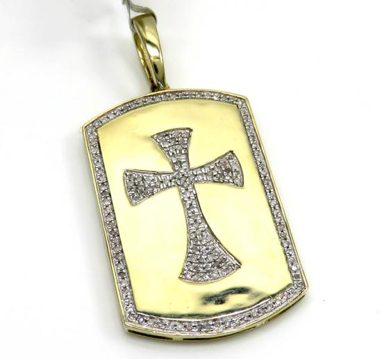 10k Yellow Gold Large Diamond Cross Dog Tag 0.32ct