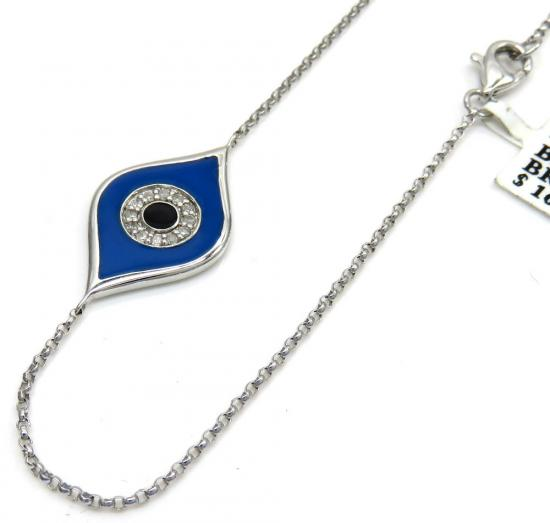 14k White Gold Blue Enamel Diamond Evil Eye Bracelet 7 Inches 0.07ct