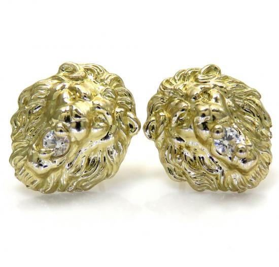 10k Yellow Gold Medium Cz Lion Earrings 0.20ct