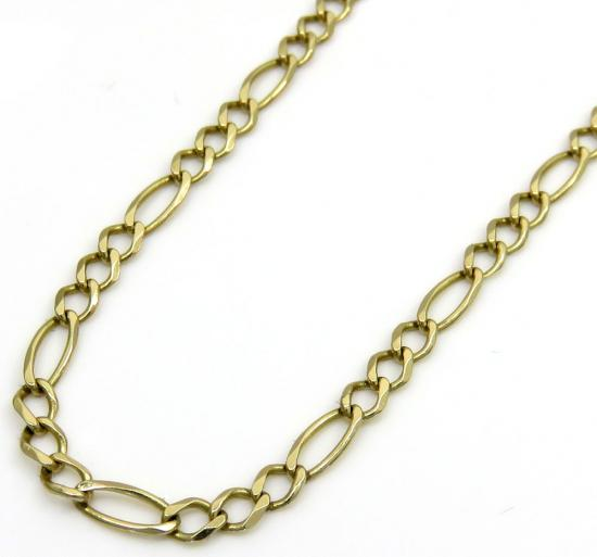 14k Yellow Gold Solid Figaro Link Chain 17 Inch 2.60mm