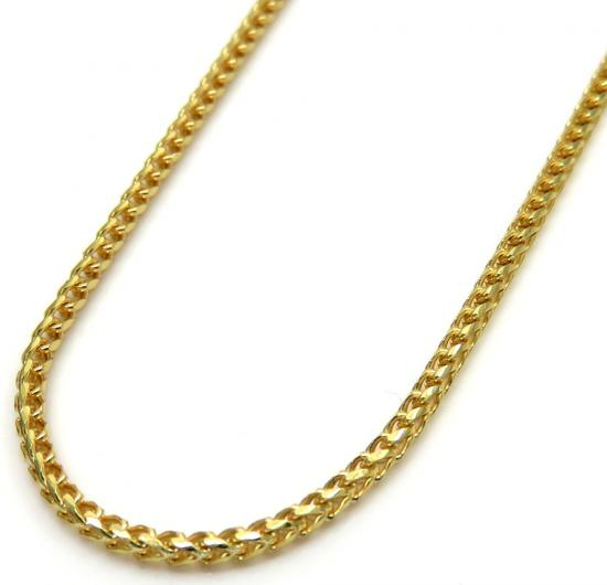 10k Yellow Gold Solid Skinny Franco Link Chain 18-24 Inches 1.5mm