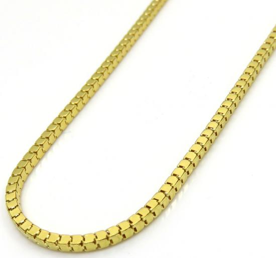 10k Yellow Gold Hollow Mirror Cube Link Chain 20-24' 1.50mm