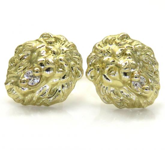 10k Yellow Gold Small Cz Lion Earrings 0.15ct