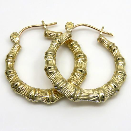 10k Yellow Gold Hollow Small Bamboo Hoops