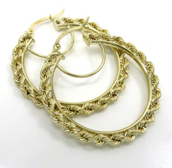 Ladies 10k Yellow Gold Hollow Large Rope Hoops