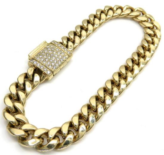 10k Yellow Gold Diamond Lock Hollow Puffed Miami Bracelet 7.25' 7.70mm 0.67ct